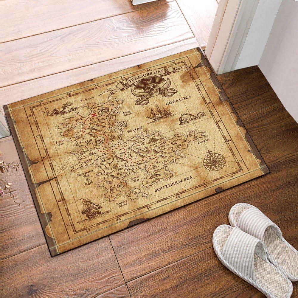 Pirate Treasure Map Bath Rugs Non-Slip Floor Indoor Front Door Mat 60x40cm New