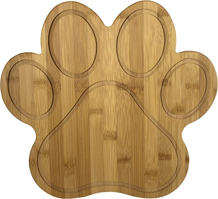 "Totally Bamboo Paw Shaped Bamboo Serving And Cutting Board, 11"" x 10"", Natural"