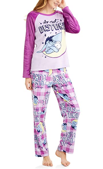 cc7d77d33f Richard Leeds International Disney Women s Eeyore Plush Minky 2 Piece Pajama  Set (L 12 14) at Amazon Women s Clothing store