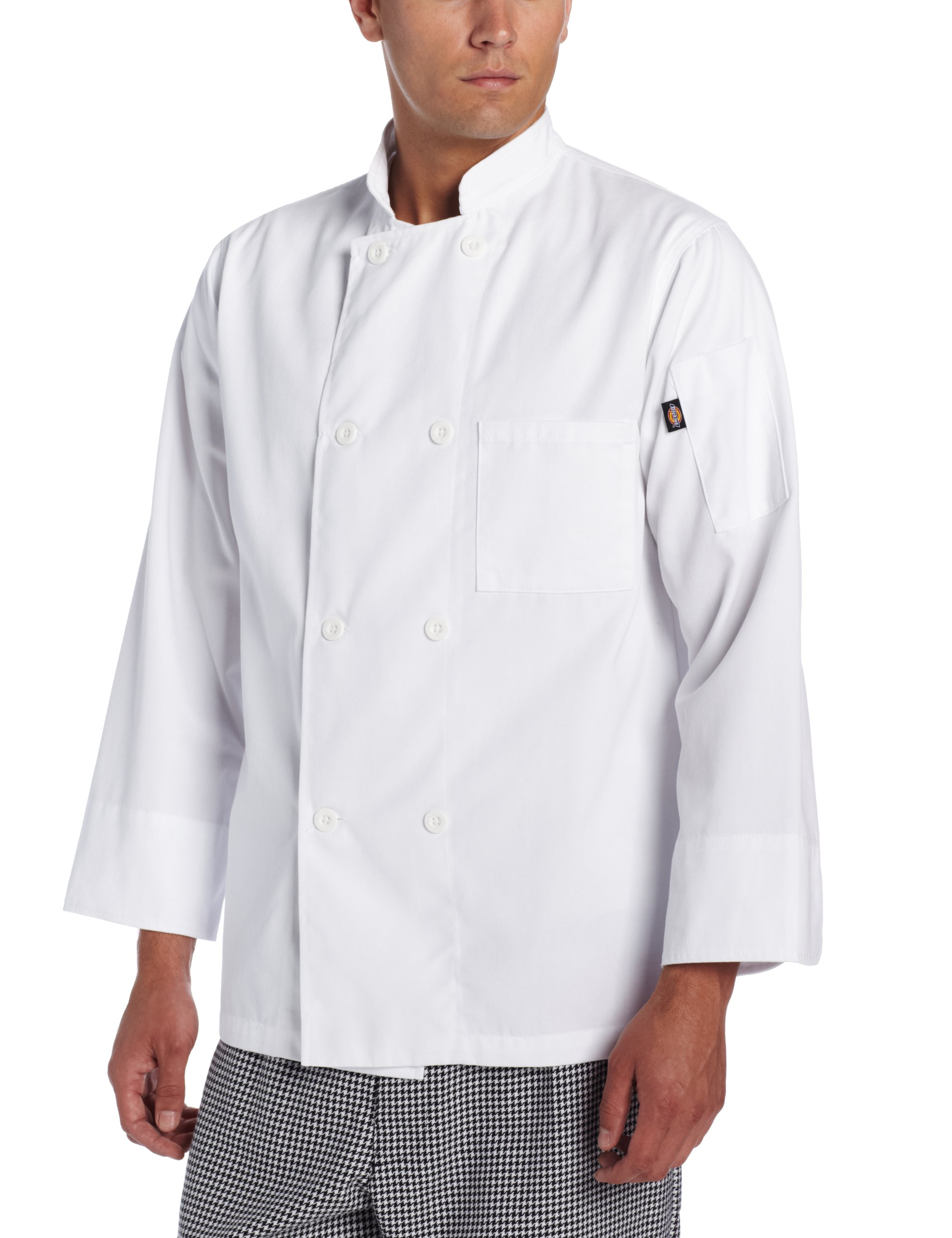 Dickies Men's The 8 Button Chef Coat, White, Large