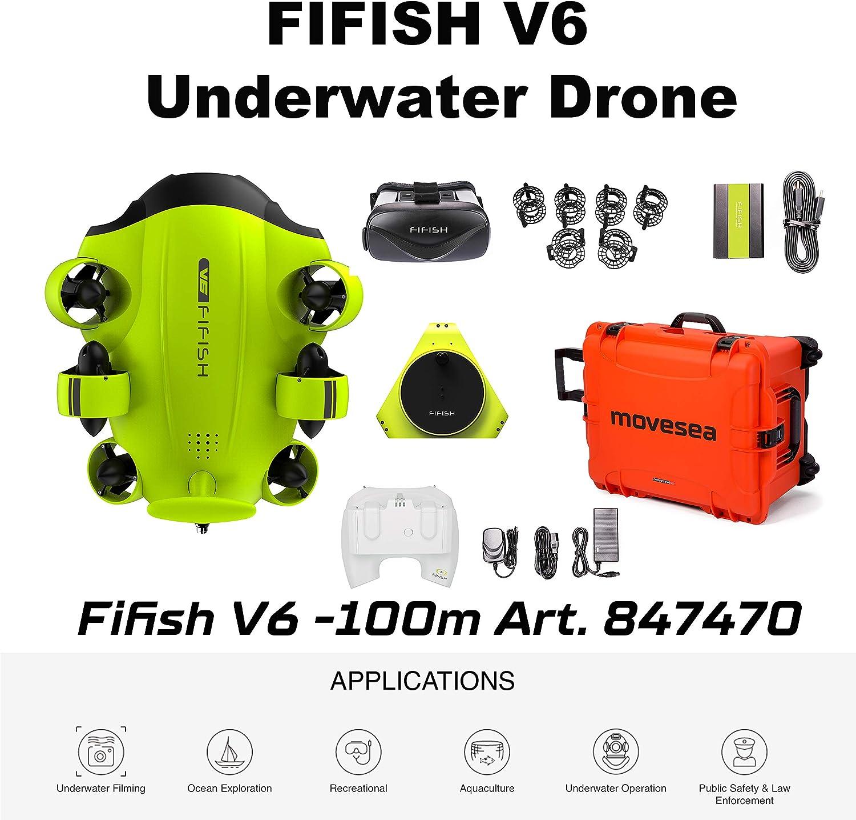 FIFISH Drone Submarino V6 100m Cable 64GB VR HDMI Protectores Maletin Naranja con Ruedas QYSEA 847470