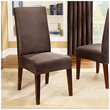 Groovy Surefit Stretch Leather Shorty Dining Room Chair Slipcover Brown Sf37382 Lamtechconsult Wood Chair Design Ideas Lamtechconsultcom