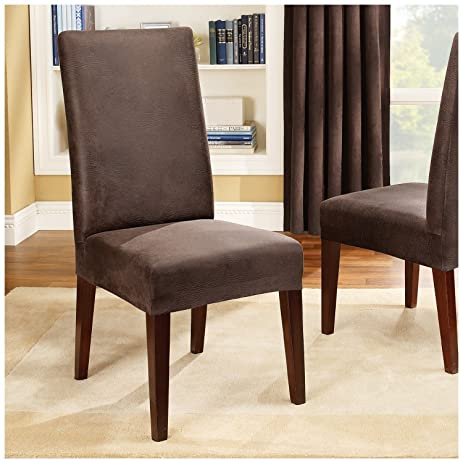 Sure Fit Stretch Leather   Shorty Dining Room Chair Slipcover   Brown  (SF37382)