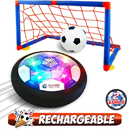 ActiveMVP Kids Toys Rechargeable Hover Soccer Ball Set with 2 Goals, Indoor LED Light Up Fun Air Soccer Game No Battery Needed, Strong Improved ABS