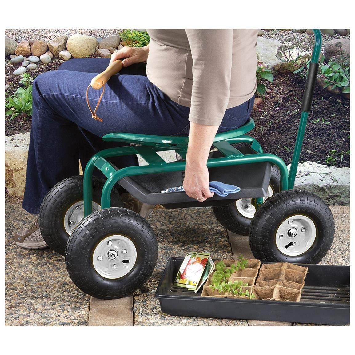 Yardeen Garden Seat Cart Scooter Rolling Work Seat with Tool Tray Planting Station with Anti-Skid 10'' Wheels