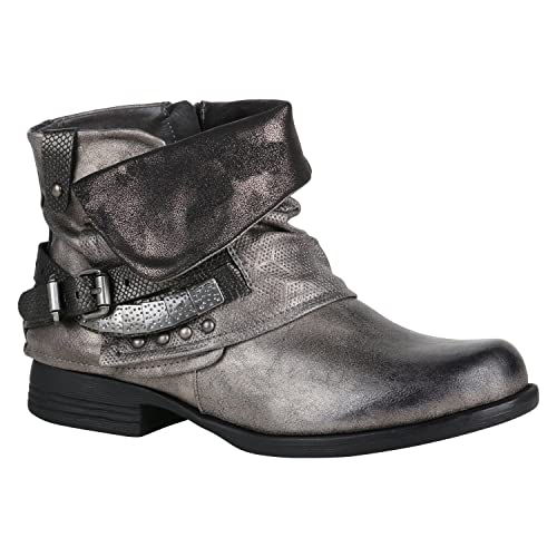 Stiefelparadies Damen Stiefeletten Biker Boots mit Blockabsatz Schnallen Nieten Flandell