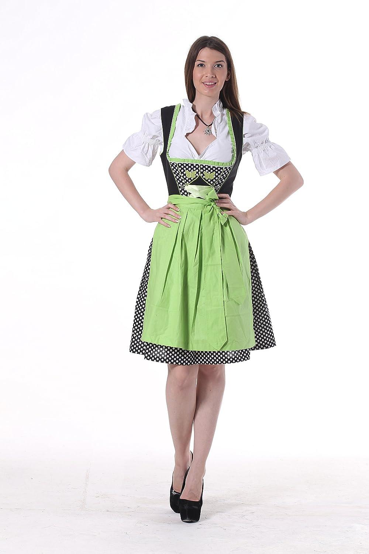 Oscartrachten, 3tlg. Dirndl-Set - Trachtenkleid, Bluse, Schürze - Dirndl midi grün-schwarz