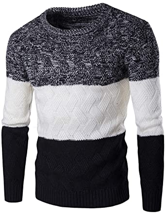 7438b4187 Men's Original Cotton Blend Crew Neck Long Sleeve Jumper Classic Fine  Novelty Stylish Stripe Knitted Pullover