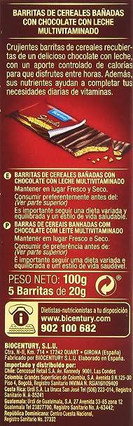 Bicentury - Sarialis - Barritas de cereales y chocolate con leche - 5 barritas x 20 g: Amazon.es: Alimentación y bebidas