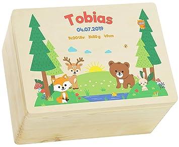 Waldtiere Motiv Geschenk zur Geburt FSC/® 30x20x14cm Holzkiste Wei/ß LAUBLUST Erinnerungsbox Baby Personalisiert
