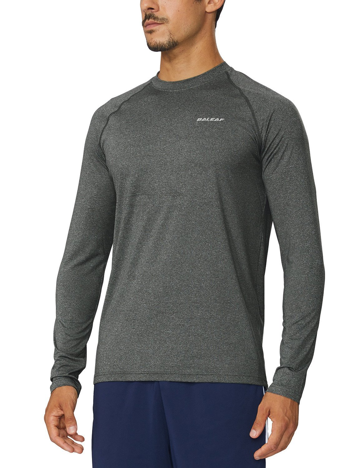 Baleaf Men's Cool Running Workout Long Sleeve T-Shirt Grey Heather Size L by Baleaf