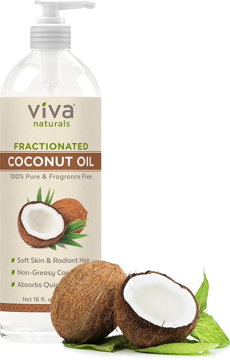Viva Naturals Fractionated Coconut Oil, 16 oz - Ultra Hydrating, Hexane-Free