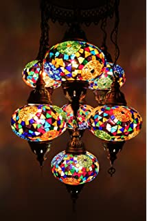 Mosaic chandelier filigree copper mosaicmosaic lampturkish lamp multicolor handmade turkish moroccan type mosaic hanging lamp chandelier with 7 large size globes aloadofball Image collections