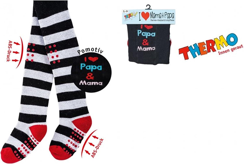 Thermo Krabbel-Strumpfhose f/ür Babys Unisex,Kinder Strumpfhose Schwarz mit ABS-Druck,I love Papa /& Mama CH-5771