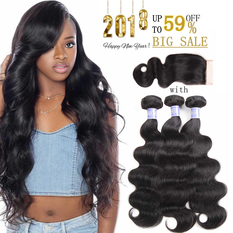 Sayas Hair 8A Grade Brazilian Body Wave Human Hair 3 Bundles With Closure 4x4 Inch Free Patr 100g(3.5oz)/bundle with 25g(0.9oz)Closure Total 325g(11.4oz) (10 12 14 with 10)inch