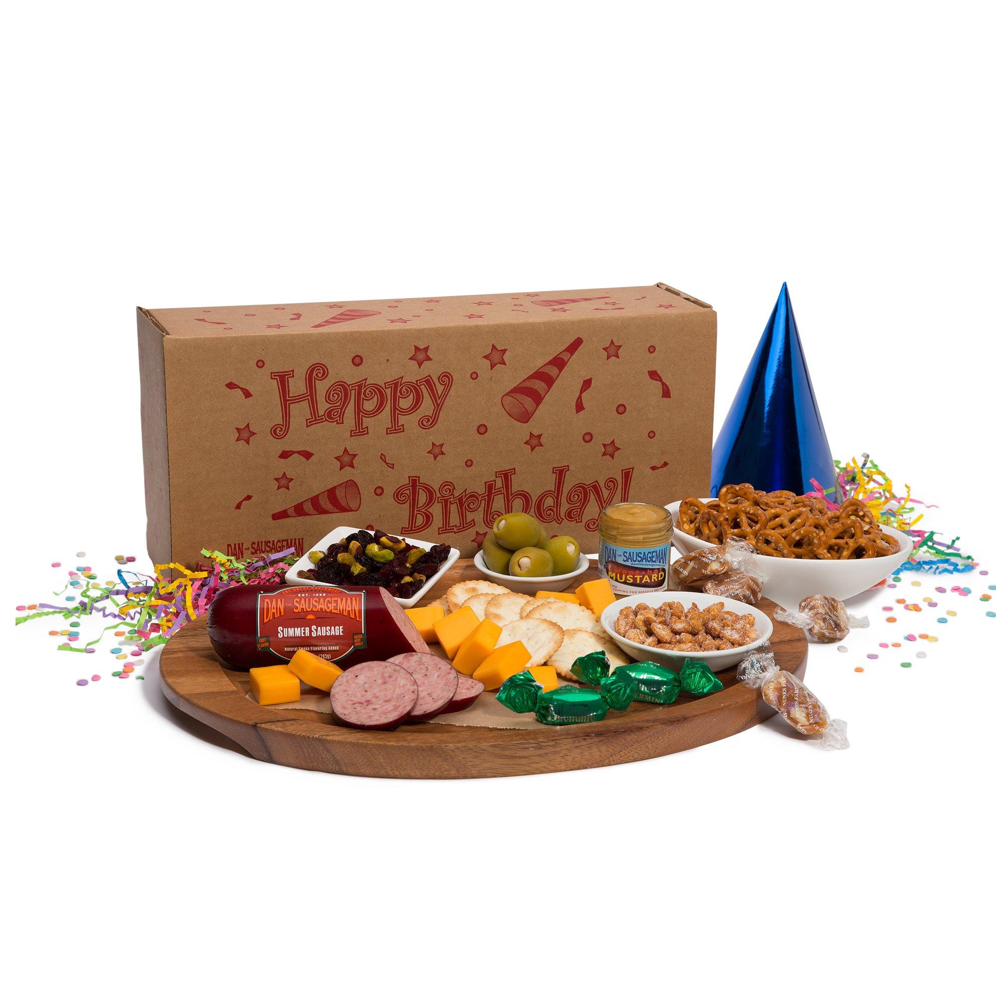 Dan the Sausageman's Happy Birthday Box Featuring Dan's Original Summer Sausage, Wisconsin Cheese, and Sweet Hot Mustard