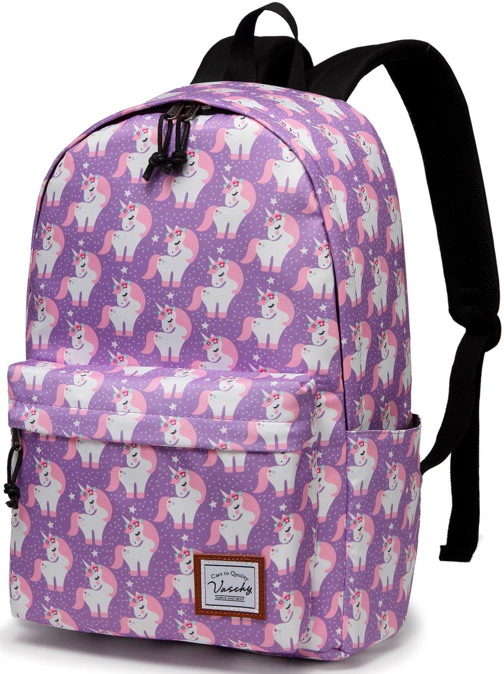 School Backpacks for Girls,VASCHY Cute Lightweight Water-Resistant 14in Padded Laptop Sleeve in Pink Unicorn