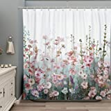 SUMGAR Colorful Flowers Shower Curtain for Bathroom Pink Floral Romantic Wildflower Plants Nature Scenery Decoration…
