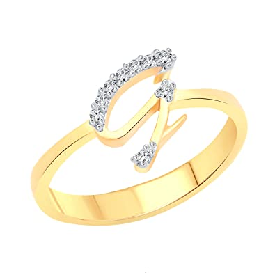 vighnaharta initial g letter cz gold and rhodium plated alloy