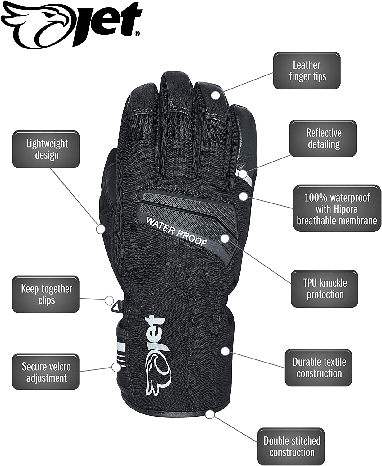 JET Motorcycle Motorbike Gloves Light Weight Waterproof Thermal Knuckle Protection Reflective Detailing AquaTex 2XL, Silver