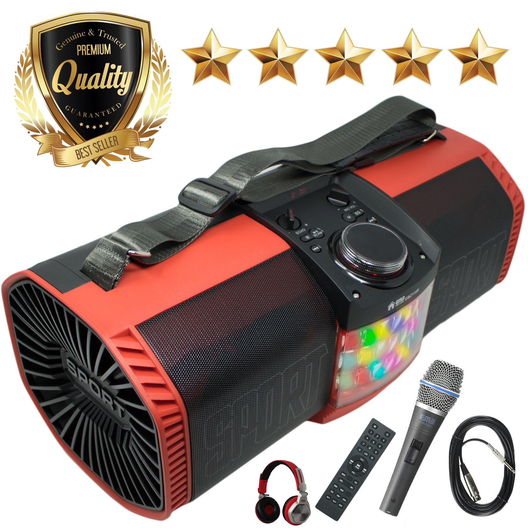EMB Bluetooth Boombox Street Disco Stereo Speaker - 3600mAH Rechargeable Battery Portable Wireless 300 Watts Power FM Radio/MP3 Player w/Remote and Disco Light w/EMB Microphone & Headphone (Red) by EMB Professional