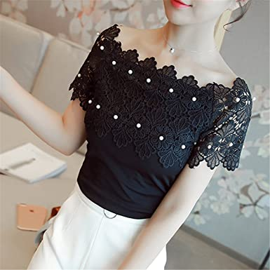 Amazon Com Hollow Out Women Sexy Short Sleeve Blouse Ladies Fashion