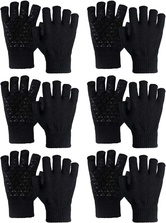 Sintege 6 Pairs Winter Half Finger Knit Gloves Non-Slip Knitted Fingerless Glove
