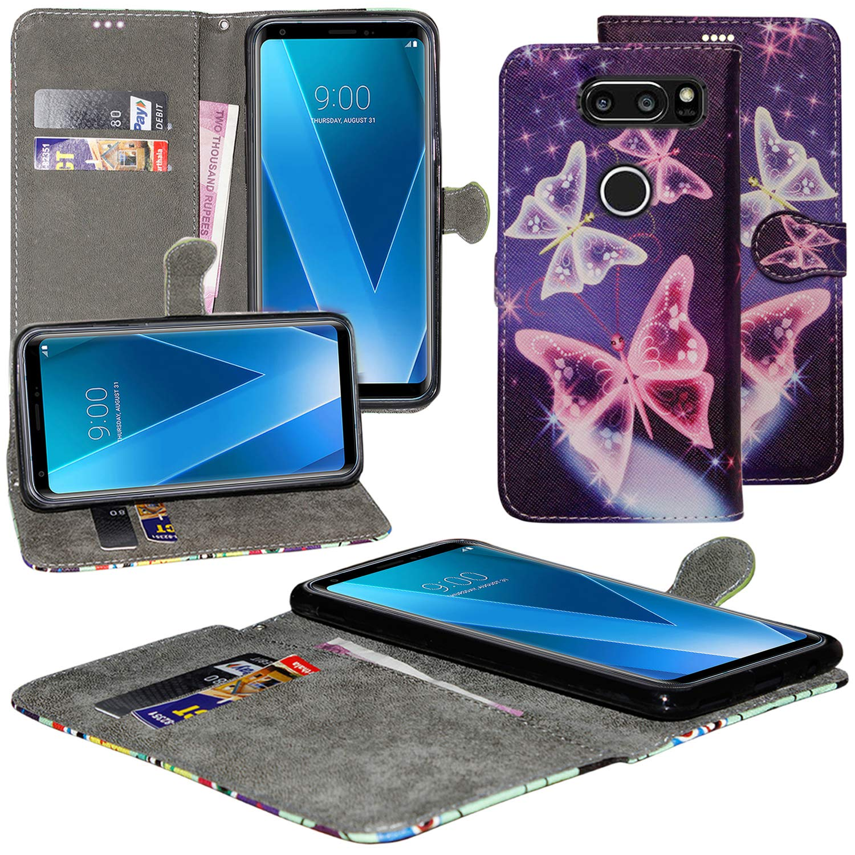 LG V30ケース、LG V30ウォレットケースプレミアムPUレザー[カードスロット]付き[キックスタンド] LG V30用保護カバー(バタフライブルー)   B07NPRDX8K