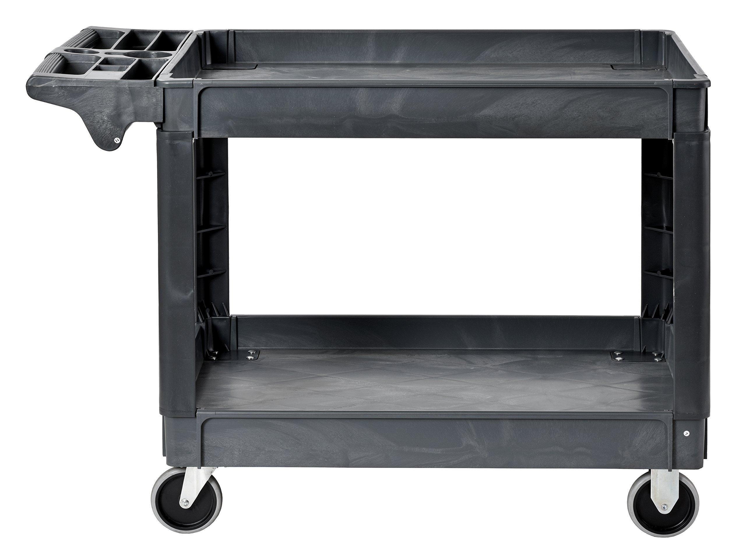 Sandusky PUC254635-2 Gray Heavy Duty Plastic Utility Cart, 2 Shelves, 33'' Width x 46'' Height x 25'' Depth