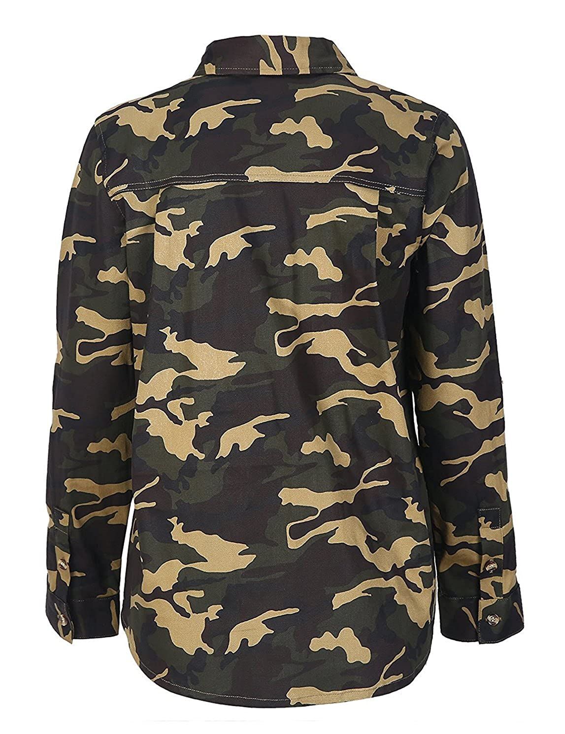 cb9f2f876ef7d HAOYIHUI Women s Cowl Neck Long Sleeve Button Down Casual Camouflage Coats  at Amazon Women s Clothing store