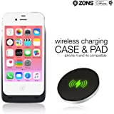 iPhone 4 4S Wireless Qi Charging Receiver Case and Wireless Charger Pad Bundle by ZENS | Effective Wireless Charging for your iPhone with a Slim Design | Qi Certified and Apple MFi Certified
