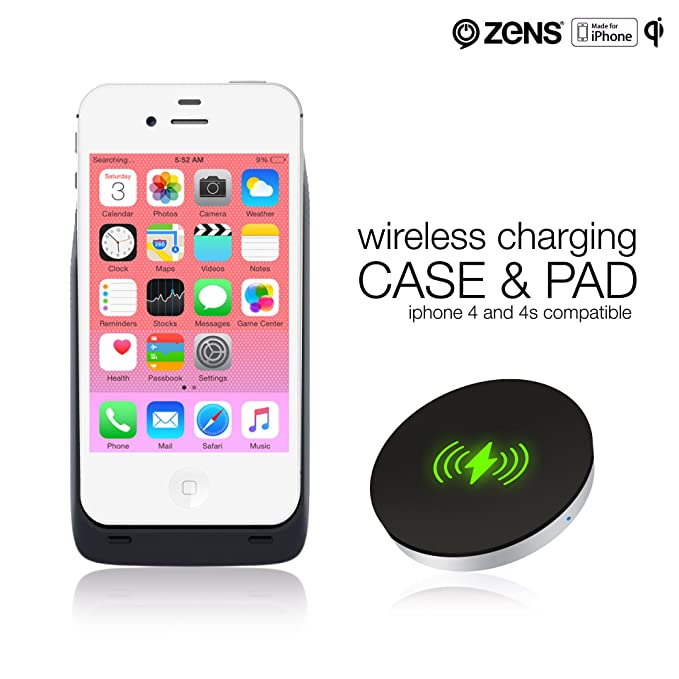 big sale d6484 30097 ZENS iPhone 4 4S Wireless Qi Charging Receiver Case and Wireless Charger  Pad Bundle Effective Wireless Charging for Your iPhone with a Slim Design |  ...