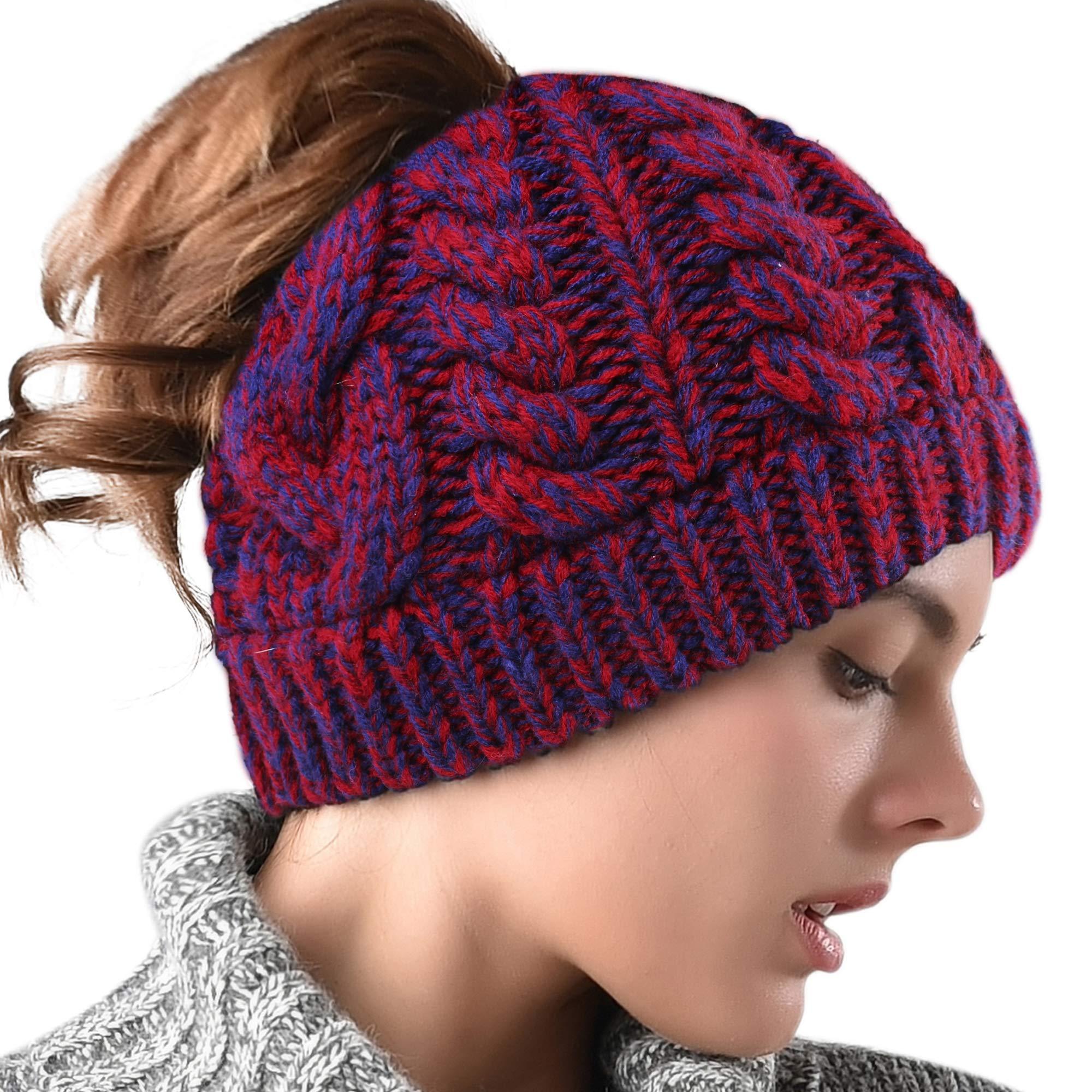 693a9644cb36b Women Hat Knit Skull Beanie Winter Outdoor Runner Messy Bun Ponytail Cap  product image