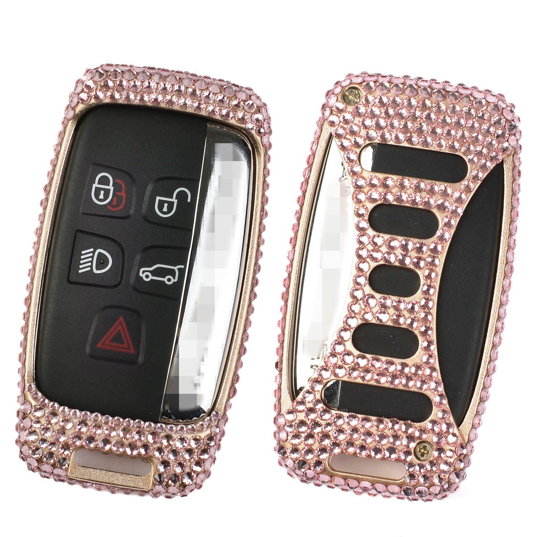 M.JVisun Handmade Car Key Fob Cover for Jaguar Smart Remote Key, Diamond Car Key Case Cover Fits Jaguar XE XF XJ F-PACE F-Type, Bling Crystals Aluminum Key Fob Cover Protector - Gold