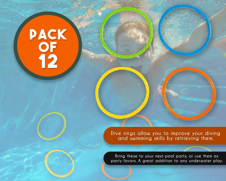 Giocattoli per Bambini 12 Pacchettini da Immersione Multicolore Blue Panda Dive Ring 16 Centimetri di Diametro