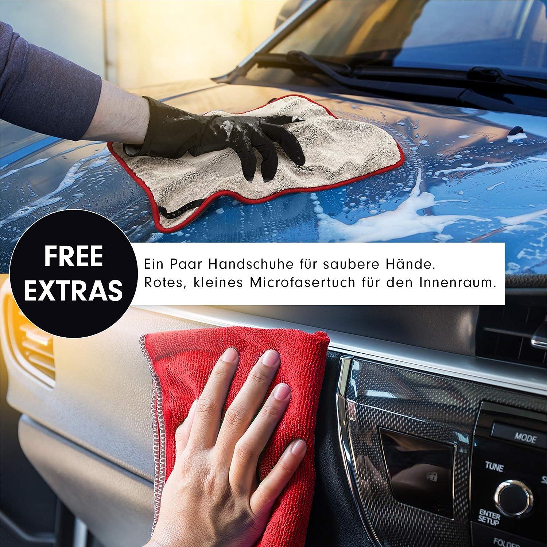 Rapidi Auto Mikrofasertuch Zur Professionellen Autopflege Flauschiges Sehr Saugfähiges Poliertuch Schonend Zum Lack Verschenk Set Microfasertuch Auto Trockentuch In 44x50cm 1200 Gsm Auto