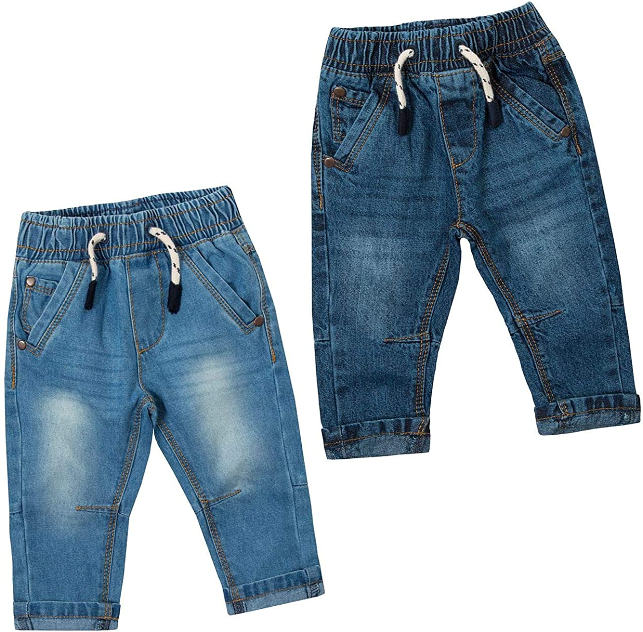Style It Up Baby Boys Girls Infant Denim Blue Jeans Elastic Waistband Pockets 3-24 Months