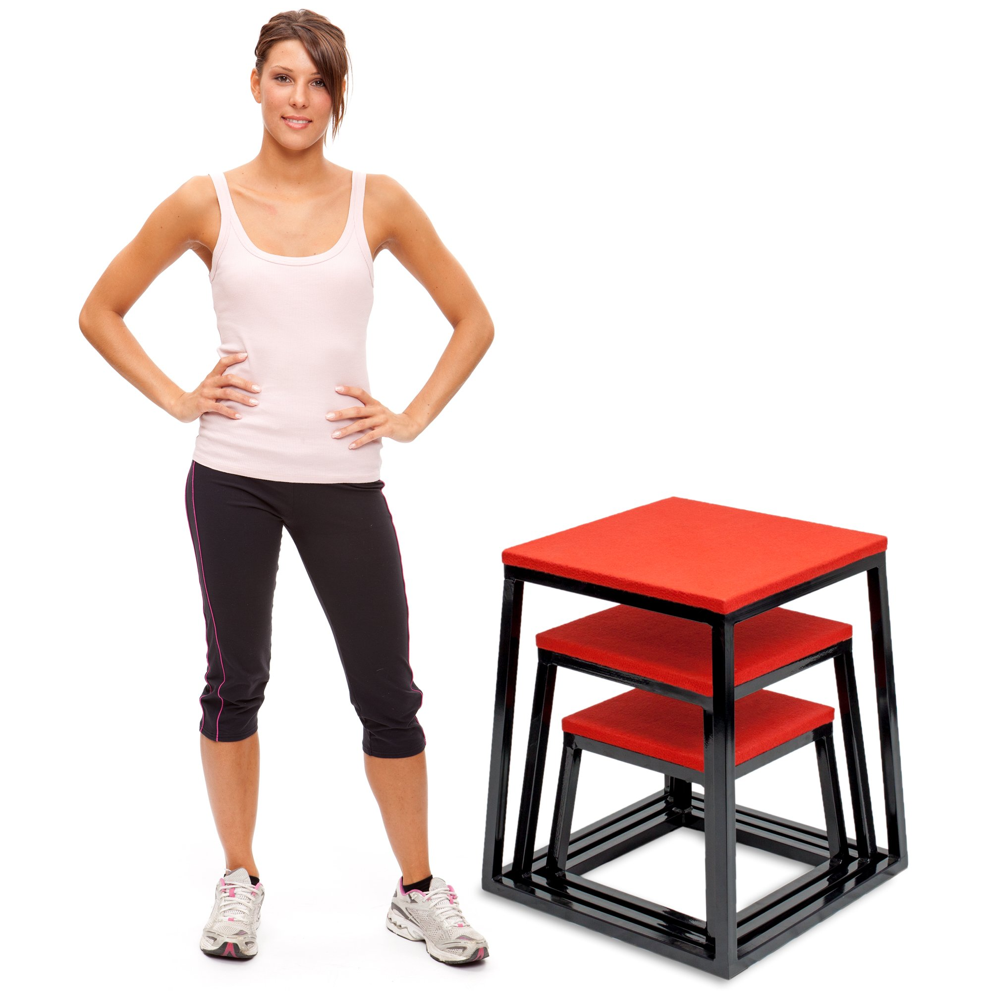 Set of 3 Plyometric Jump Boxes – Step Platform, Fitness Training & Conditioning Equipment for Increasing Vertical, Speed, & Stamina (12''/18''/24'') by Crown Sporting Goods by Crown Sporting Goods (Image #2)
