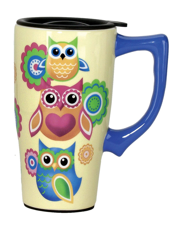 Spoontiques Owls Travel Mug, Yellow