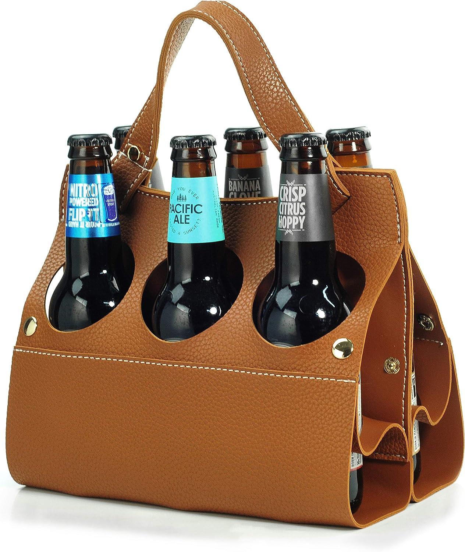6 Pack Beer Caddy Beer Carrier Vegan Leather Bottle Holder for Party Picnic BYOB Restaurant Shopping (Brown)