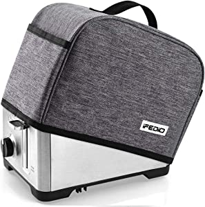 iFedio 2 Slice Toaster Cover with Two Pockets for Storing knife and fork, Avoiding Dust/Scratches/Pet Fur/Water/Cooking Oil/Fingerprint for Toasters, Easy Hand-Hold and Folding Easy to Use and Storage, Water-Proof and Durable Material, 11 x 6.3 x 7.9 in, Grey