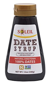 12oz DATE SYRUP | Made with100% Algerian Deglet Noor dates | Certified NON-GMO, KOSHER. Healthy Natural sweetener with NO added sugars or preservatives, Gluten-free, Vegan. PBA-free squeeze bottle.