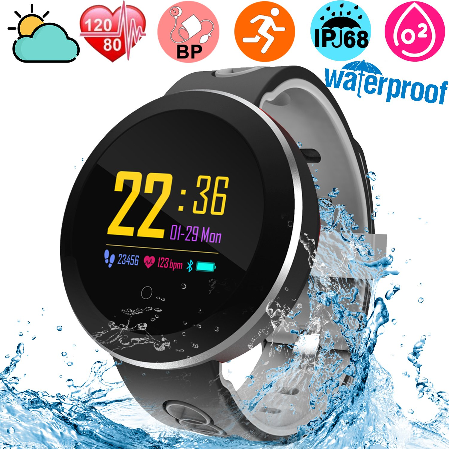 IP68 Waterproof Fitness Tracker Smartwatch for kids Men Women Swimming Heart Rate Blood Pressure Oxygen Sleep Monitor GPS Activity Tracker Pedometer Color Screen Outdoor Sport Bracelet for Android iOS by JingStyle (Image #1)