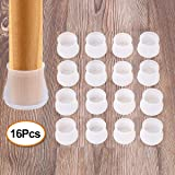 Chair Leg Silicone Caps - 16Pcs Silicon Chair Leg Floor Protectors - Round & Square Furniture Table Feet Cover - Prevents Scratches and Noise Without Leaving Marks (Transparent)
