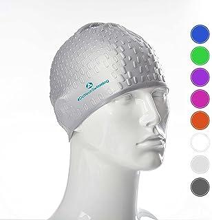 Bonnet de bain »Drops« de #DoYourSwimming / Idéal pour compétitions entraînements, sports nautiques, et loisirs / unisex original extensible élastic 100 % silicone longue vie (élasthanne) / Innovation high-tech