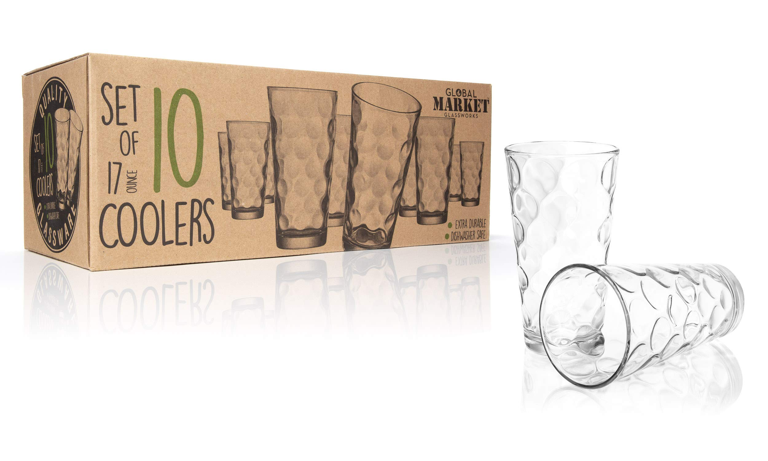 TableSetter 10 Drinking Glasses - A set of 10 Clear water glasses, Solar Cooler Glass 17oz Drinkware Set by Global Market Glassworks