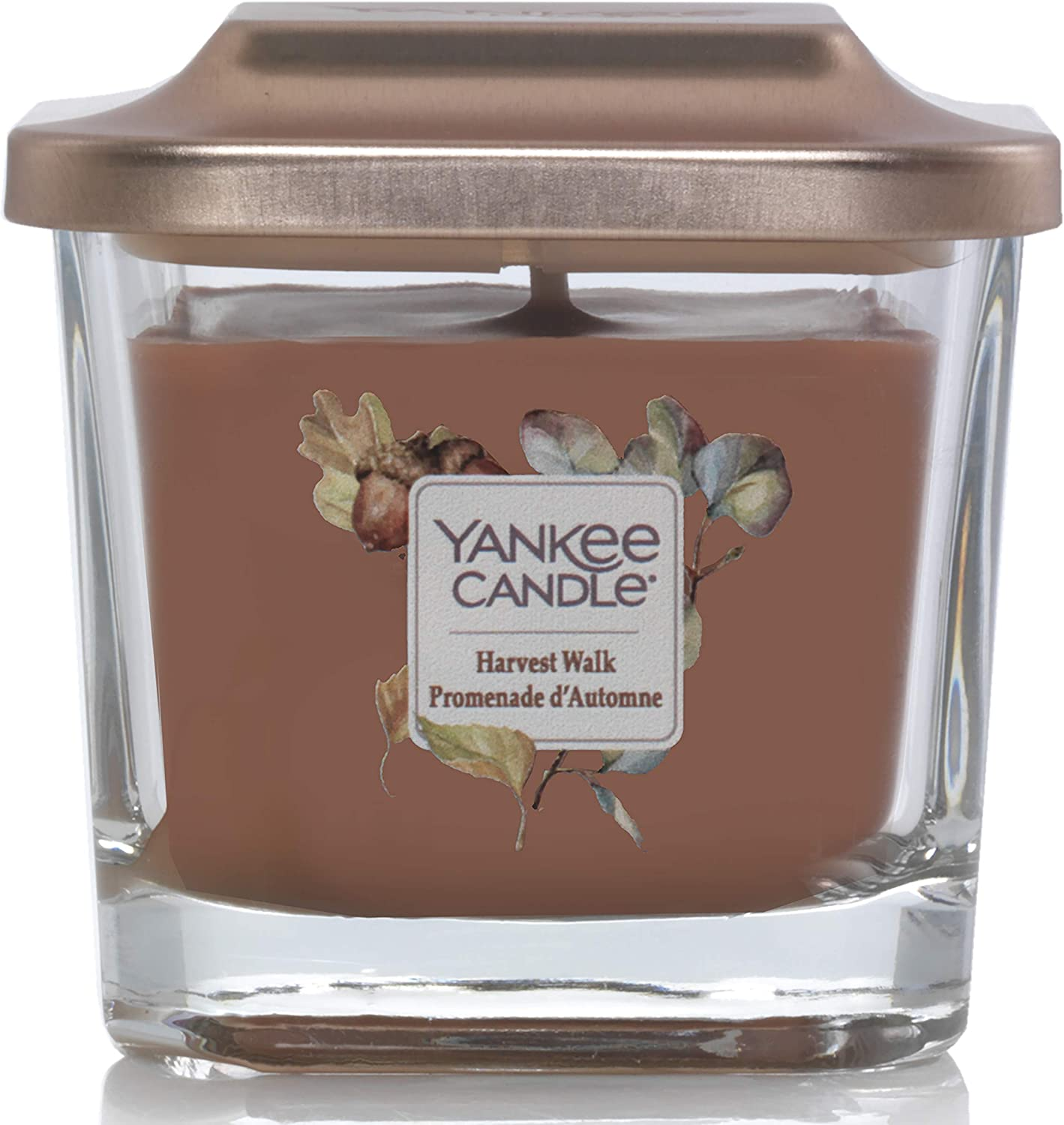 Yankee Candle Elevation Collection with Platform Lid Small 1-Wick Square Candle, Harvest Walk