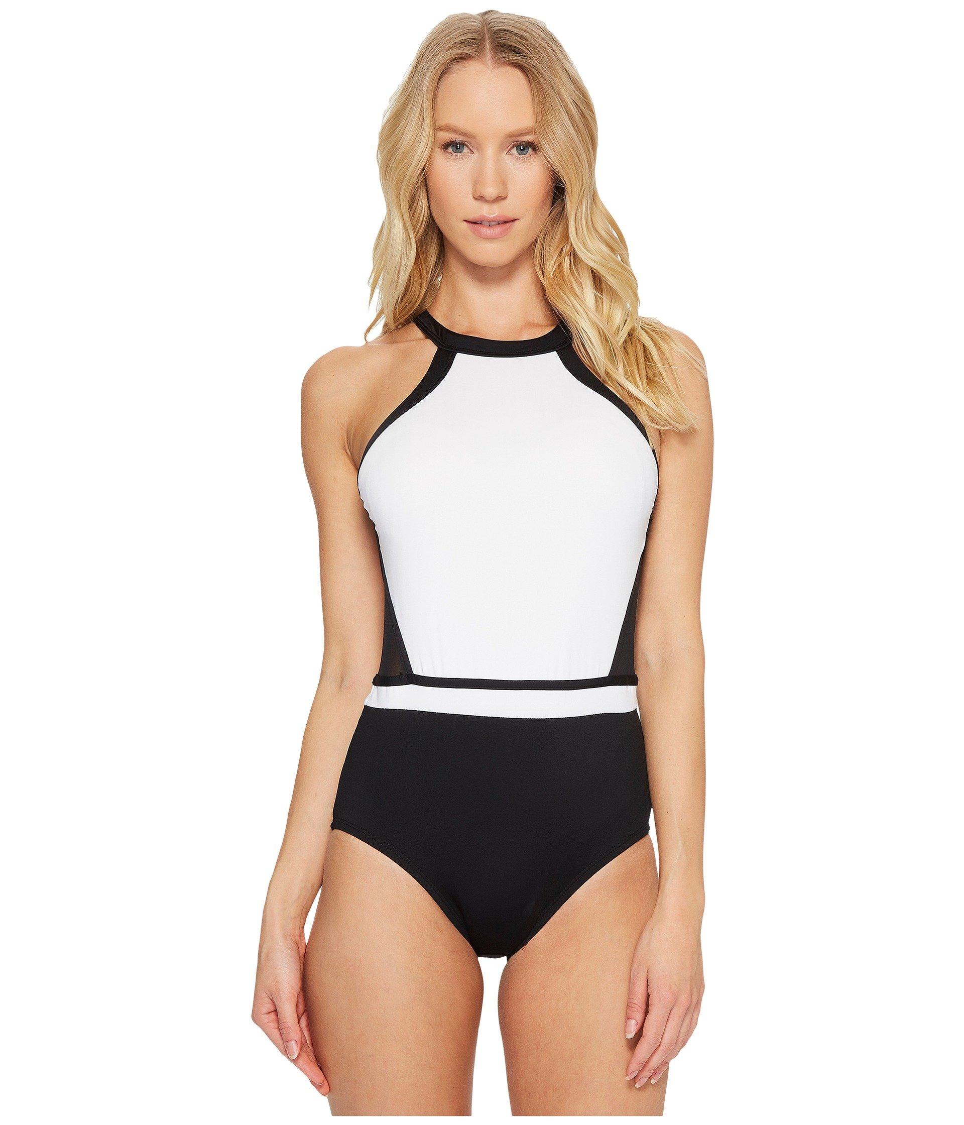 Jantzen Women's White High Neck H-Back One Piece Swimsuit, Black, 10