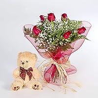 REGALAUNAFLOR-Ramo 6 rosas rojas con osito-FLORES FRESCAS-Entrega en 24 horas de martes a sabado.-SAN VALENTIN-