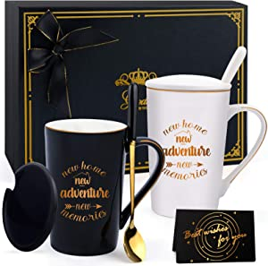 Housewarming Gifts for New Home, Gifts for Home House Warming Presents for Women Family Gifts Ideas for Him Her Couples New Home New Adventure New Memories Ceramic Mug Couples Gifts Black White